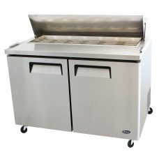 Sandwich/Salad Top Reach-In Refrigerator, two-section, self-contained refrigeration, 12.0 cu. ft. capacity, includes (12) 1/6 stainless steel pans, 33?ø to 45?øF temperature range, (2) locking hinged self-closing doors, (2) adjustable shelves, ventilated refrigeration, automatic lighting & evaporation, air defrost, stainless steel interior & exterior, galvanized steel back, casters, front breathing side mounted refrigeration, 560 watts, 115v/60/1-ph, 6.5 amps, 1/3 HP, cETLus, ETL, CE