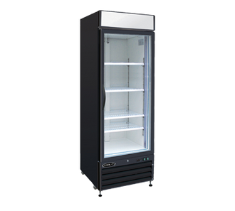"NEW Kool-It Refrigerated Merchandiser, 23 cu.ft., 27-3/5""W x 31-1/10""D x 81""H, (1) locking double pane glass self-closing door, hinged on right, 36°-43°F temperature range, digital thermostat with LED display, white aluminum interior with (3) adjustable shelves, LED lighting, top lighted signage panel, black powder-coated exterior, bottom mount self-contained refrigeration, (4) casters (2) braked, 2/3 HP, 115v/60/1-ph, 2.8 amps, cord with NEMA 5-15P, cETLus, ETL-Sanitation. 1 Year Warranty on Parts & Labor, 5 Years on Compressor."