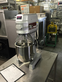 LIKE NEW, BARELY USED Skyfood B10 Planetary Mixer Gear Transmission; 2 Speed; Bowl raises and lowers for changing tools; Safety bowl cage, prevents operation when cage opened; Stainless Steel Dough Hook, Beater and Wire Whip ƒ?? Standard. Table top unit. Voltage: 110 V, Frequency: 60 Hz, Power Rating: 1/2 HP, Height: 29 1/6, Width: 15, Depth: 17, Net Weight: 174.00 lb. NB