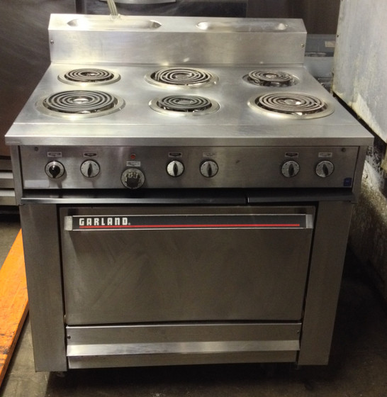"""36E Series Heavy Duty Range, electric, 36"""", (6) coil elements, standard oven, 4-position rack glides, (1) rack, 3"""" high vent riser, stainless steel front, sides & front rail, 6"""" legs, 19.1 kW, CSA, NSF (Garland)"""