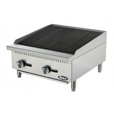 "Heavy Duty Radiant Charbroiler, gas, countertop, 24"", (2) stainless steel burners, standby pilots, stainless steel radiant plates, cast iron grill, independent manual controls, adjustable multi-level top grates, stainless steel structure, adjustable stainless steel legs, 70,000 BTU, cETLus, ETL"