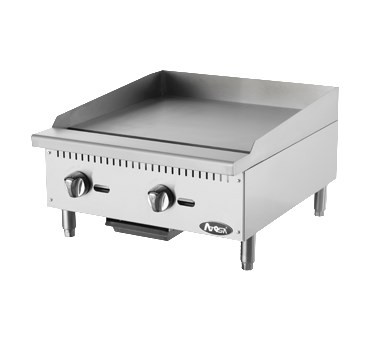 "Heavy Duty Griddle, gas, countertop, 24"", (2) stainless steel burners, standby pilots, independent manual controls, stainless steel structure, adjustable stainless steel legs, 60,000 BTU, cETLus, ETL"