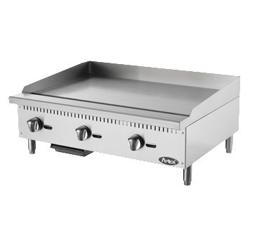 "Heavy Duty Griddle, gas, countertop, 36"", (3) stainless steel burners, standby pilots, independent manual controls, stainless steel structure, adjustable stainless steel legs, 90,000 BTU, cETLus, ETL"