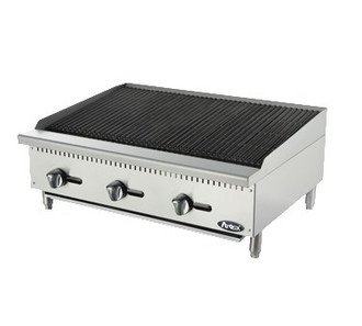 "Heavy Duty Char Rock Charbroiler, gas, countertop, 36"", (3) stainless steel burners, standby pilots, stainless steel radiant plates, cast iron grill, independent manual controls, adjustable multi-level top grates, stainless steel structure, adjustable stainless steel legs, 105,000 BTU, cETLus, ETL"