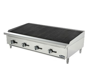 """Heavy Duty Radiant Charbroiler, gas, countertop, 48"""", (4) stainless steel burners, standby pilots, stainless steel radiant plates, cast iron grill, independent manual controls, adjustable multi-level top grates, stainless steel structure, adjustable stainless steel legs, 140,000 BTU, cETLus, ETL"""