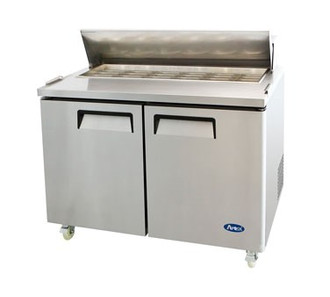 Mega Top Sandwich/Salad Reach-In Refrigerator, two-section, self-contained refrigeration, 14.7 cu. ft. capacity, includes (18) 1/6 stainless steel pans, 33° to 45°F temperature range, (2) locking hinged self-closing doors, (2) adjustable shelves, poly cutting board, ventilated refrigeration, automatic lighting & evaporation, air defrost, stainless steel interior & exterior, galvanized steel back, casters, front breathing side mounted refrigeration, 560 watts, 115v/60/1-ph, 6.5 amps, 1/3 HP, cETLus,, ETL, CE