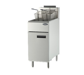 Heavy Duty Fryer, gas, floor model, 50 lb. capacity, (4) burners, standby pilots, 200°F- 400°F temperature range, self-reset high temperature limiting device, oil cooling zone seated in the bottom of the tank, stainless steel structure, adjustable stainless steel legs, 136,000 BTU, cETLus, ETL