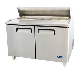 Sandwich/Salad Top Reach-In Refrigerator, two-section, self-contained refrigeration, 18.2 cu. ft. capacity, includes (16) 1/6 stainless steel pans, 33° to 45°F temperature range, (2) locking hinged self-closing doors, (2) adjustable shelves, poly cutting board, ventilated refrigeration, automatic lighting & evaporation, air defrost, stainless steel interior & exterior, galvanized steel back, casters, front breathing side mounted refrigeration, 560 watts, 115v/60/1-ph, 6.5 amps, 1/2 HP, cETLus, ETL, CE