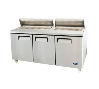 Sandwich/Salad Top Reach-In Refrigerator, three-section, self-contained refrigeration, 32.8 cu. ft. capacity, includes (18) 1/6 stainless steel pans, 33?ø to 45?øF temperature range, (3) locking hinged self-closing doors, (3) adjustable shelves, poly cutting board, ventilated refrigeration, automatic lighting & evaporation, air defrost, stainless steel interior & exterior, galvanized steel back, casters, front breathing side mounted refrigeration, 630 watts, 115v/60/1-ph, 7.5 amps, 1/2 HP, cETLus, ETL, CE