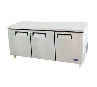 Undercounter Reach-In Refrigerator, three-section, self-contained refrigeration, 32.8 cu. ft. capacity, 33?ø to 45?øF temperature range, (3) locking hinged self-closing doors, (3) adjustable shelves, ventilated refrigeration, automatic evaporation, air defrost, stainless steel interior & exterior, galvanized steel back, casters, rear mounted refrigeration, 390 watts, 115v/60/1-ph, 4.2 amps, 1/3 HP, cETLus, ETL, CE, ENERGY STAR??
