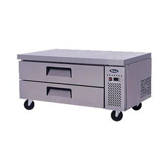 """Chef Base, one-section, self-contained refrigeration, 10.4 cu. ft., (2) drawers, recessed door handles, stainless steel interior & exterior,  5"""" casters, side-mounted refrigeration, 260 watts, 115v/60/1-ph, 3.2 amps, 1/6 hp, cETLus, ETL, CE"""