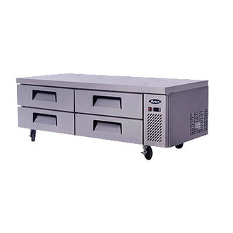 "Chef Base, two- section, self-contained refrigeration, 15.0 cu. ft., (4) drawers, recessed door handles, stainless steel interior & exterior,  5"" casters, side-mounted refrigeration, 360 watts, 115v/60/1-ph, 4.2 amps, 1/4 hp, cETLus, ETL, CE"