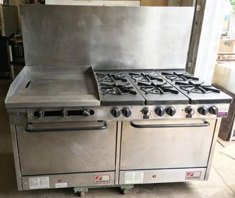 "Southbend Restaurant Range, gas, 60"", (6) non-clog burners, standard grates, (1) 24"" manual griddle left, standing pilot, (2) standard ovens, includes (1) rack per oven, 22-1/2"" flue riser, 6"" adjustable legs, 336,000 BTU, cCSAus, CSA Flame, CSA Star, NSF."