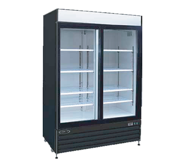 """Kool-It Refrigerated Merchandiser, 50 cu.ft., 52-1/25""""W x 32-1/3""""D x 79-1/2""""H, (2) locking swing glass doors, 36°-43°F temperature range, digital thermostat with LED display, white aluminum interior with (8) adjustable shelves, LED lighting, top lighted signage panel, black powder coated steel exterior, bottom mount self-contained refrigeration, (4) casters (2) locking, 1 HP, 115v/60/1-ph, 6.2 amps, cord with NEMA 5-15P, cETLus, ETL-Sanitation"""