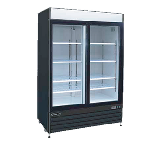 "Kool-It Glass Door Refrigerated Merchandiser, 42 cu.ft., 52-1/25""W x 28-1/3""D x 79-1/2""H, (2) sliding locking glass doors, 36?ø to 46?øF temperature range, digital thermostat with LED display, white aluminum interior with (8) adjustable shelves, LED lighting, top lighted signage panel, black powder coated steel exterior, bottom mount self-contained refrigeration, (4) casters (2) locking, 1 HP, 115v/60/1-ph, 6.2 amps, cord with NEMA 5-15P, cULus"