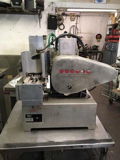 Hollymatic automatic patty making machine 3/4 H.P 115/230 volt, 60Hz., 1 Ph. 12/6 A 115/220 volt, 50 Hz., 1 Ph. 12/6 A, Feed Tray: Removable and safety interlocked w/guard. Paper Feed: 5-1/2ƒ? (standard) automatic side notch system. Optional 4-1/2ƒ?, and 5ƒ? available. Speed: 2,100 or 1,800 portions per hour. Portion Size: Standard up to 8 ounces per portion. Mold Plate: Standard 3/16ƒ? to 3/4ƒ? thick. 5-1/8ƒ? Maximum diameter with paper. Compressors: 5 Oz. or 8 Oz., depending on portion size.