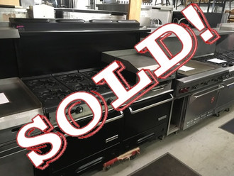 """GARLAND F01-283 60"""" RANGE WITH 6 BURNERS, 24"""" RAISED GRIDDLE & BROILER WITH 2 STANDARD OVENS"""