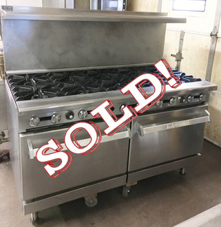 "Imperial IR-10 Restaurant Range, gas, 60"", (10) open burners, (2) standard ovens, (1) chrome rack per oven, removable crumb tray, stainless steel front, sides, backguard, shelf, landing ledge & kick plate, 6"" legs, adjustable feet, 390,000 BTU, NSF, CE, CSA"