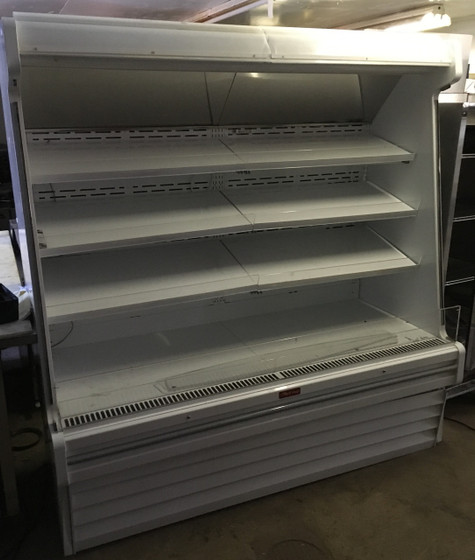 """Produce Open Merchandiser, 75""""W, 78-1/2""""H, endless design, (3) rows of lit shelves, 15"""" product reflecting mirror, sloped end panels, 1"""" gray bumper, (drain required), white exterior & interior, designed for remote refrigeration, R404a expansion valve included, remote condensing units & other hook ups are not included, 115v/60/1-ph, 4.0 amps."""