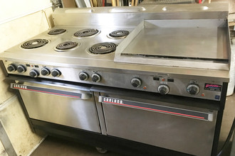 "Garland S684 Restaurant Range, electric, 60"", (6) all purpose tubular element burners, 24"" thermostatic controlled griddle, two standard ovens, with 10"" high backguard, black painted and stainless steel exterior finish, 6"" stainless steel legs, 27 kW (Garland)"