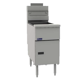 "PITCO Fryer, gas, tube fired stand alone model, 35 lb. oil capacity, millivolt control, removable basket hanger, includes (2) twin baskets, 9"" adjustable legs, stainless steel tank, front, door & sides, 70,000 BTU, ENERGY STAR??, CSA, NSF"