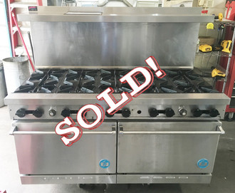 "Heavy Duty Restaurant Range, gas, 60"", (10) 32,000 BTU open burners, (2) 26-1/2"" ovens with one rack each, stainless steel front, sides & high shelf, 6"" chrome plated legs, 114. 0 kW, 390,000 BTU, ETL-Sanitation, NSF, Made in USA"