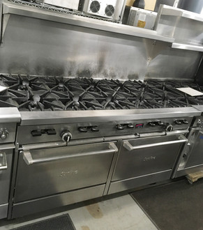 "GARLAND X60-10RR Sunfire?? Restaurant Range, gas, 60"", (10) 30,000 BTU open burners, with cast iron top & ring grates, (2) standard oven with 2 position rack guides with oven rack each, stainless steel front, sides, plate rail, backguard, & high shelf, 6"" steel core legs, 366,000 BTU, NSF, CSA. NATURAL GAS."