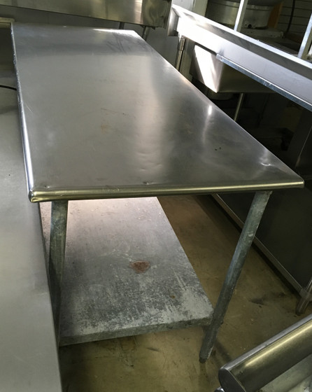 "Work Table, 72""W x 30""D, 18/430 stainless steel top, with turndown edges on all sides, reinforced with channels, adjustable galvanized undershelf, 1-5/8"" dia. galvanized legs, adjustable high-impact corrosion-resistant feet, NSF"