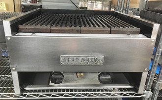 "Char-Rock Broiler, gas, countertop, 24"" wide, (2) ""H"" shaped burners, heavy duty reversible cast iron grates with grease runners, manual controls, stainless steel front & sides, 20.0 kW, 70,000 BTU, ETL, Made in USA"