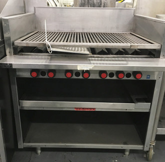 "Radiant Charbroiler, on cabinet base, gas, 36"" wide, free floating round rod top grate with EZ tilt to front grease trough, stainless steel radiants, stainless steel on all sides, 6"" service shelf."