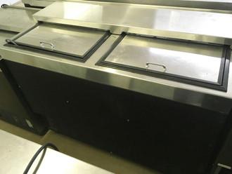 "GLASTENDER MF48-B2 Underbar Glass Froster, 48""W x 24""D, self-contained refrigeration, 12?øF (-11?øC) to 35?øF (2?øC) temperature range, (2) top sliding doors, includes (2) shelves & bottom rack, automatic condensate evaporator, black vinyl exterior with stainless steel interior & top, R404a, 1/3 HP, cETLus, ETL-Sanitation."