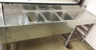 "3 BAY BAR SINK 72"" WITH GLASS RACK"
