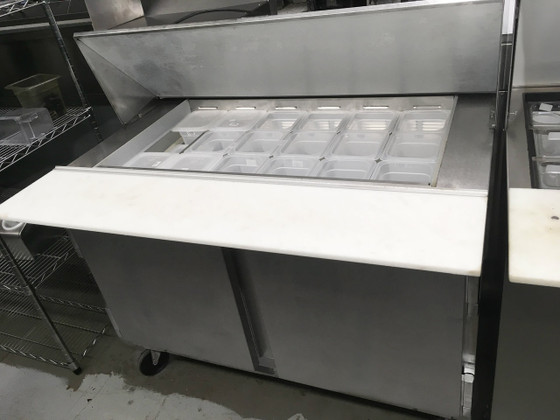 """Elite Series™ Mega Top Refrigerated Counter, two-section, 48""""W, 9.8 cu. ft., (2) doors, stainless steel top with opening for (18) 1/6 size pans, 10"""" cutting board, (4) shelves, stainless steel exterior, aluminum interior, rear-mounted self-contained refrigeration, (pans furnished are 4"""" deep, tops will accommodate 6"""" deep pans) R290 Hydrocarbon refrigerant, 1/6 HP, UL, cULus, UL EPH Classified, UL-Sanitation, MADE IN USA"""