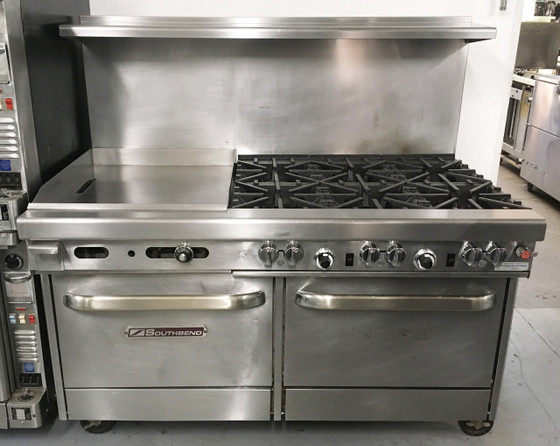 "Southbend 460AA-2TR Ultimate Restaurant Range, gas, 60"", (3) star/saut?? burners front, (3) non-clog burners rear, (1) 24"" griddle right, thermostatic controls, standing pilot, (2) convection ovens with battery spark ignition, includes (3) racks per oven, 22-1/2"" flue riser with shelf, stainless steel front, sides, shelf & 6"" adjustable legs, 310,000 BTU, cCSAus, CSA Flame, CSA Star, NSF. NATURAL GAS. NBm."