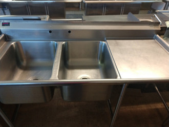 "2  BAY SINK W/ DRAIN BOARD - NSF NB. SINK DIMENSIONS: 37"" X 30"" X 67"" BAY DIMENSIONS: 12"" X 24"" X 18"" DRAIN BOARD DIMENSIONS: 27"" X 22"""