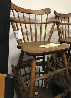 colonial wood chair, wood chair, used wood chair, used wood chair with arms, used wood chair maple colored, maple color wood chair with back
