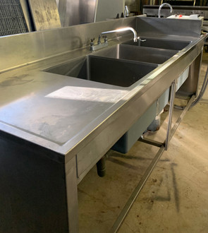 3 BAY SINK W/ HAND WASH SINK AND DISPOSAL - NSF