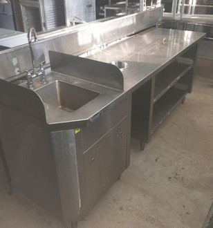 hand sink/ wait station, hand sink with wait station plate shelf and trash chute, wait station with handsink, wait station with hand sink and trash chute