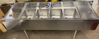undercounter 4 bay bar sink, 4 bay bar sink, undercounter bar sink, 4 bay undercounter bar sink with 2 drainboards