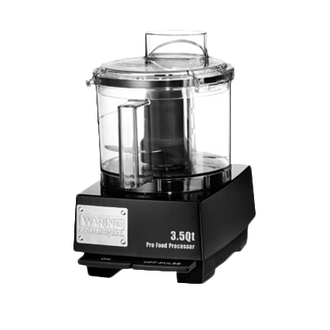 WARING Commercial Food Processor, 3.5 quart, vertical chute feed design, LiquiLock™ Seal System, holds liquids in the bowl & locks S blade in the bowl while pouring, sealed LiquiLock™ polycarbonate batch bowl & flat cover, includes: WFP14S1 Sealed S blade, WFP14S11 Sealed whipping disc, 1 HP motor, 120v/60/1-ph, 6 amps, UL, ETL-Sanitation