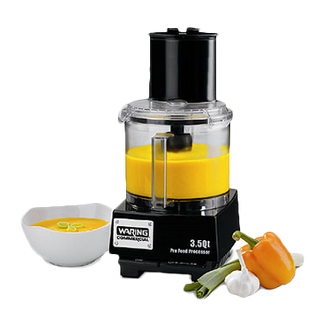 "Commercial Batch Bowl Food Processor, 3.5 quart, vertical chute feed design, LiquiLock™ Seal System, holds liquids in the bowl & locks S blade in the bowl while pouring, sealed LiquiLock™ polycarbonate batch bowl,  includes: WFP14S1 serrated sealed S-Blade, WFP143 5/64"" grating disc, WFP14S10 adjustable slicing disc, WFP14S11 sealed whipping disc, WFP14S12 reversible shredding disc, WFPSCK10 detachable disc stem (for WFP143 & WFP149) WFP14S9 detachable disc stem (for WFP14S10 & WFP14S12), 1 HP motor, 6 amps, 120v/60/1-ph, UL, ETL-Sanitation"