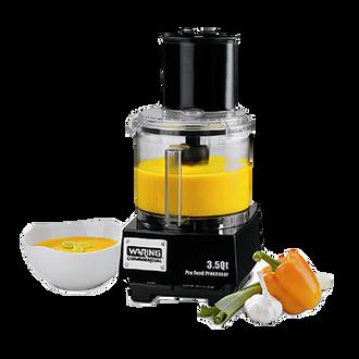 "Commercial Batch Bowl Food Processor, 3.5 quart, vertical chute feed design, LiquiLockƒ?› Seal System, holds liquids in the bowl & locks S blade in the bowl while pouring, sealed LiquiLockƒ?› polycarbonate batch bowl,  includes: WFP14S1 serrated sealed S-Blade, WFP143 5/64"" grating disc, WFP14S10 adjustable slicing disc, WFP14S11 sealed whipping disc, WFP14S12 reversible shredding disc, WFPSCK10 detachable disc stem (for WFP143 & WFP149) WFP14S9 detachable disc stem (for WFP14S10 & WFP14S12), 1 HP motor, 6 amps, 120v/60/1-ph, UL, ETL-Sanitation"