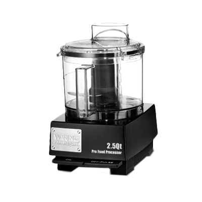 WARING Commercial Food Processor, 2.5 quart, vertical chute feed design, LiquiLockƒ?› Seal System, holds liquids in the bowl & locks S blade in the bowl while pouring, sealed LiquiLockƒ?› polycarbonate batch bowl & cover, includes: WFP11S1 Sealed S blade, WFP11S5 Sealed whipping disc, 3/4 HP motor, 120v/60/1-ph, 6.0 amps, UL, ETL-Sanitation