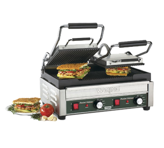 "Panini Ottimoƒ?› Dual Panini Grill, electric, double, 17"" x 9-1/4"" cooking surface, hinged auto-balancing top plate with heat resistant handles, ribbed cast iron plates, adjustable thermostats 570?øF (300?øC), indicator lights, brushed stainless steel body & removable drip tray, 240v/60/1-ph, 13.0 amps, NEMA 6-20P, UL, NSF"