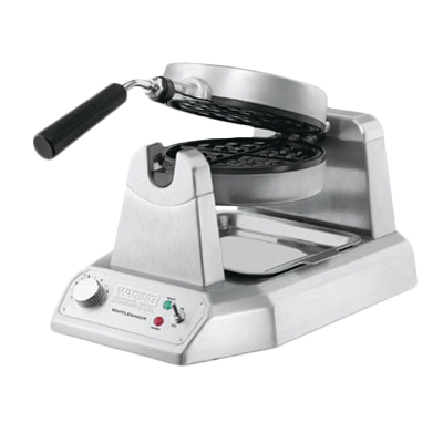 """Belgian Waffle Maker, single, up to (35) 7"""" diameter, 1"""" thick waffles per hour, audio beep signal, rotary feature, power & ready-to-bake LED indicators, embedded heating element, non-stick plates, heavy duty die cast housing, 120v/60/1-ph, 1.2kW, 10.0 amps, cord, NEMA 5-15P, cETLus, NSF"""