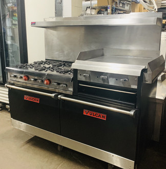 "6 BURNER RANGE WITH 24"" GRIDDLE/ DOUBLE OVEN"