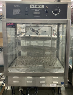 """Pizza Merchandiser, 33-7/8"""" x 22-1/2"""" x 22-1/2"""", rotating, 3 tier, 18"""" diameter racks, stainless steel construction, tempered glass case, illuminated interior, water reservoir, thermostat control up to 200?øF, includes signage, 120v/60/1ph, 1480 watts, 12.4 amps, NSF"""