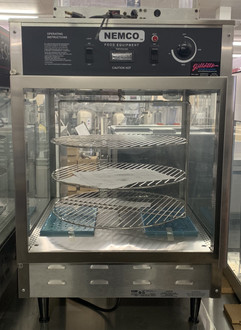 "Pizza Merchandiser, 33-7/8"" x 22-1/2"" x 22-1/2"", rotating, 3 tier, 18"" diameter racks, stainless steel construction, tempered glass case, illuminated interior, water reservoir, thermostat control up to 200°F, includes signage, 120v/60/1ph, 1480 watts, 12.4 amps, NSF"