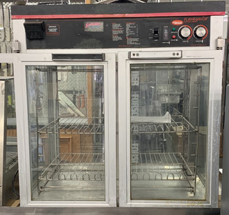 Flav-R-Savor?? Large Capacity Merchandising Cabinet, countertop, (4) intermediate racks, (4) French style doors, incandescent lights, cord & plug, clear anodized finish