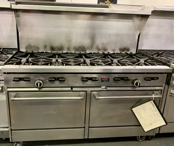 "Sunfire?? Restaurant Range, gas, 60"", (10) 30,000 BTU open burners, with cast iron top & ring grates, (2) standard oven with 2 position rack guides with oven rack each, stainless steel front, sides, plate rail, backguard, & high shelf, 6"" steel core legs, 366,000 BTU, NSF, CSA"